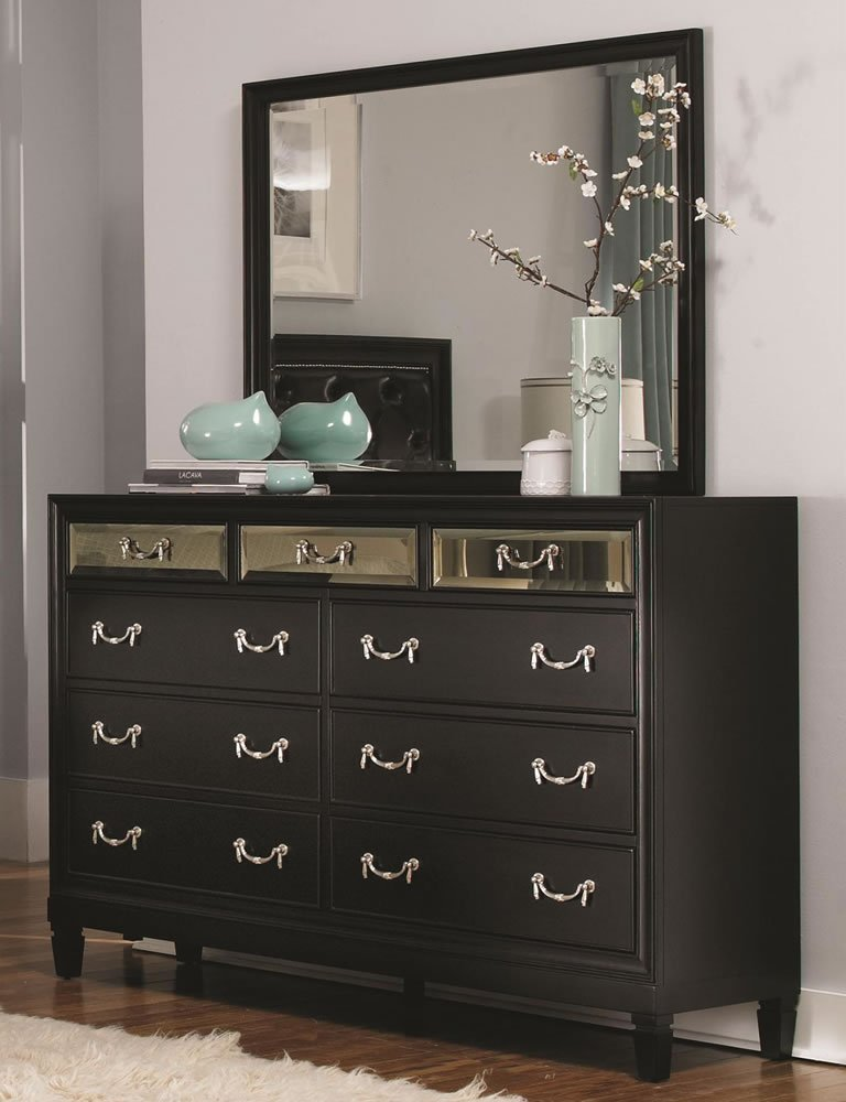 Black bedroom dresser home furniture design for Bedroom dresser decor