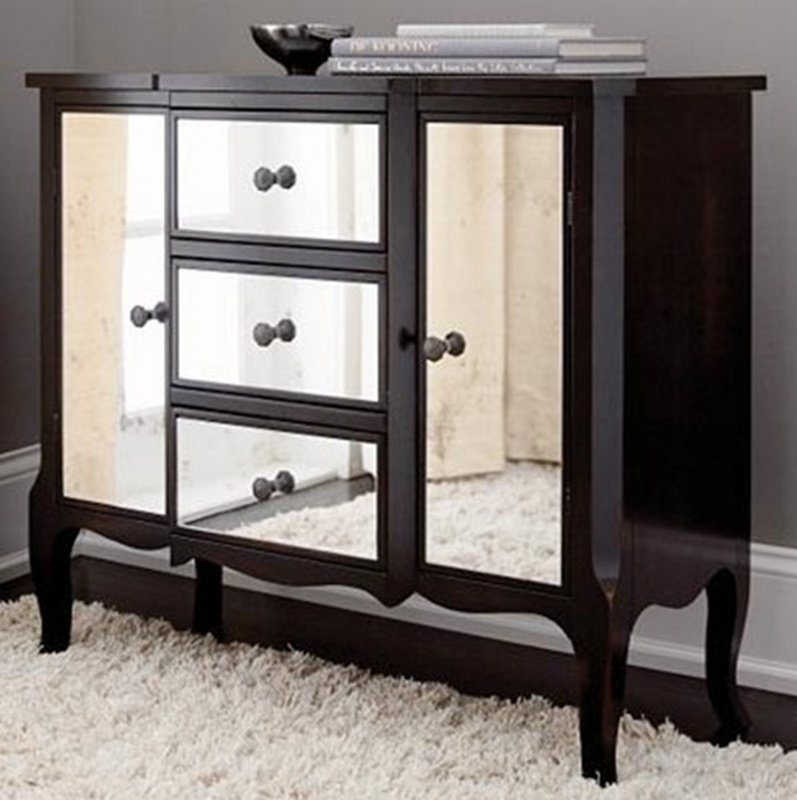 Black Mirrored Dresser Home Furniture Design