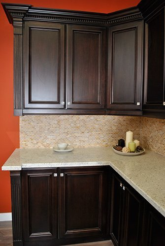 Dark stained kitchen cabinets home furniture design for Can you paint non wood kitchen cabinets