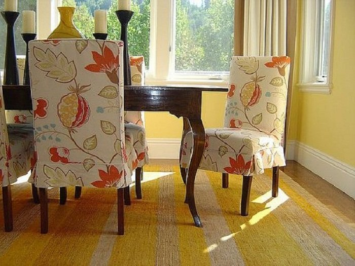Fabric chair covers for dining room chairs home for Dining room chair cover ideas