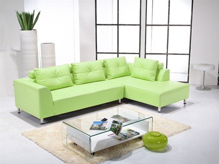 Green leather sectional sofa home furniture design - Sofas modernos fotos ...