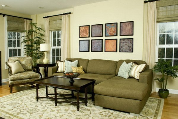 Green sofas living rooms home furniture design for Living room with green sofa