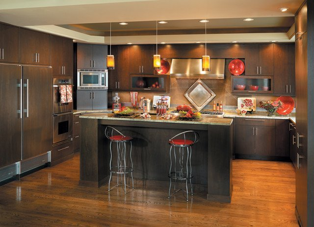 Java stain kitchen cabinets home furniture design for Can you paint non wood kitchen cabinets