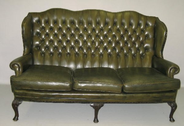 Olive green leather sofa home furniture design
