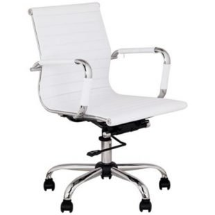 White Leather Office Chair Home Furniture Design
