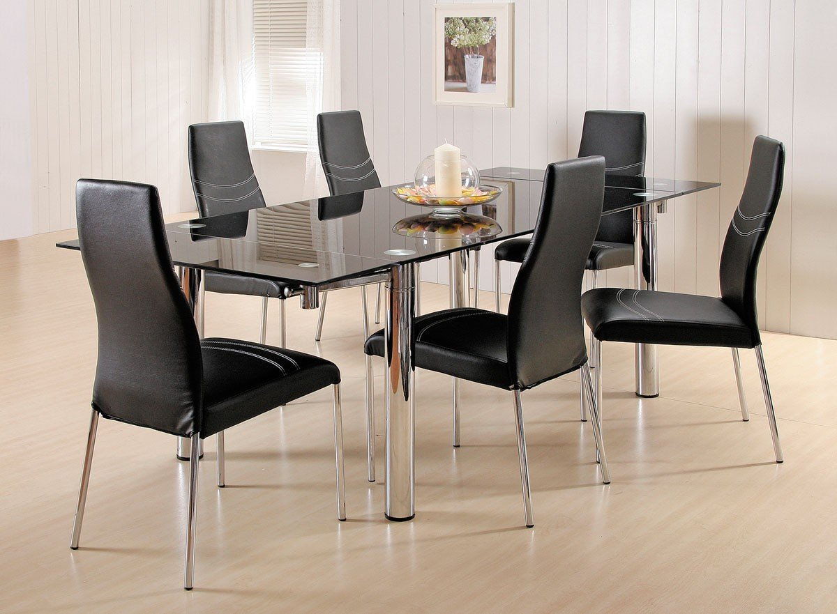 7 piece glass dining room set home furniture design for Glass dining set