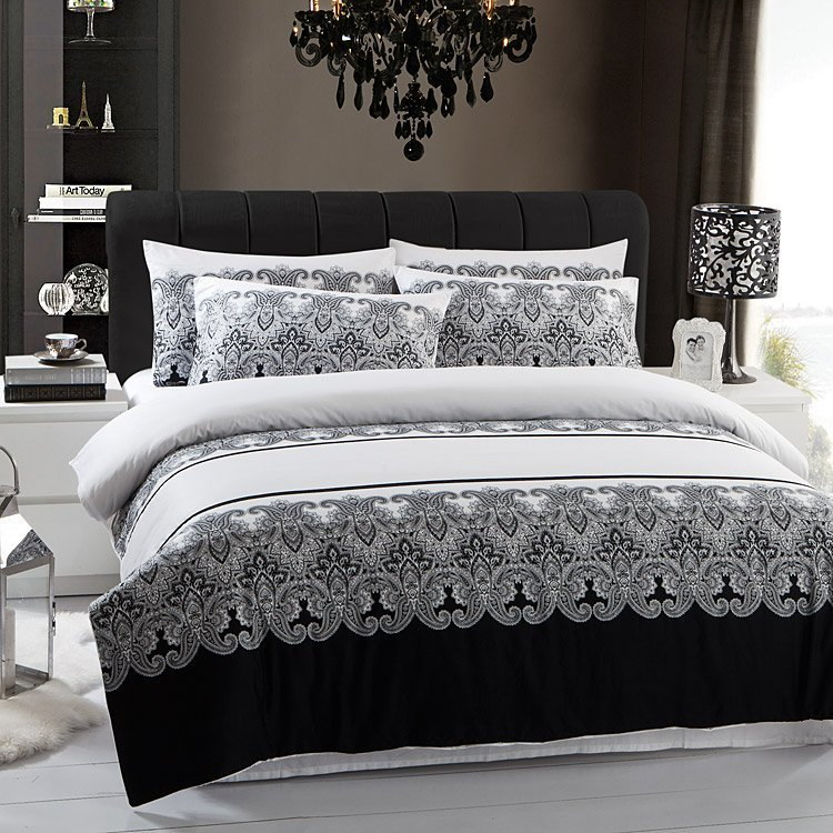Black and white duvet cover queen home furniture design - Housse de couette blanc et noir ...