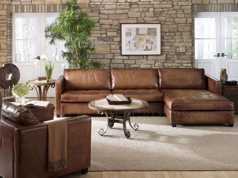 Brown Leather Sectional Sofa With Chaise Home Furniture