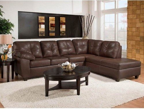 Brown leather sofa with chaise home furniture design for Brown couch with chaise