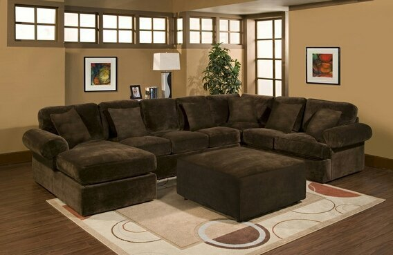 Brown sectional sofa with chaise home furniture design for Brown chaise sofa