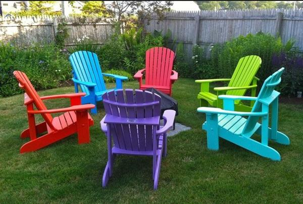 Colorful plastic adirondack chairs home furniture design for Mobilier de jardin