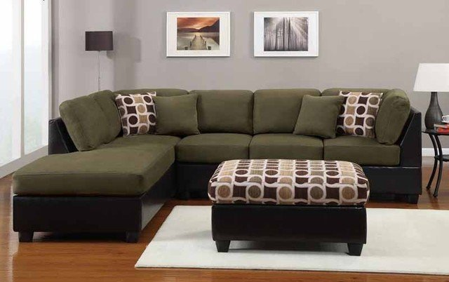 Green sectional sofa with chaise home furniture design for Green sectional sofa with chaise