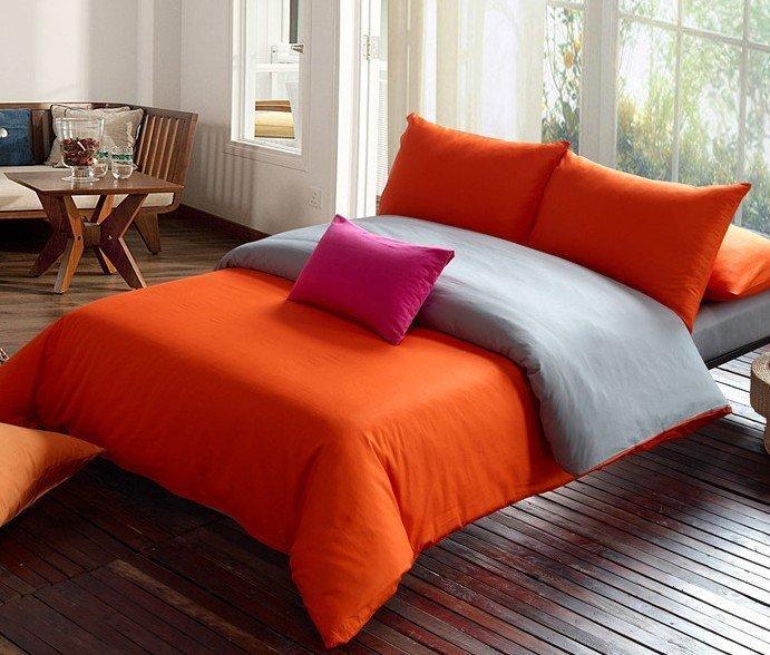 Blue Orange Stripes Grid Pattern Duvet Cover Sanding ...  Orange Duvet Cover