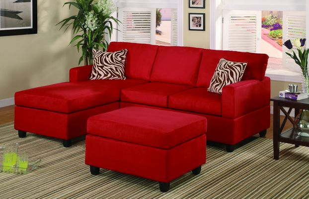 Red sectional sofa with chaise home furniture design Red sofa ideas
