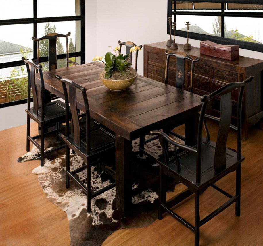 Rustic dining room furniture sets home furniture design - Kitchen table small space decoration ...