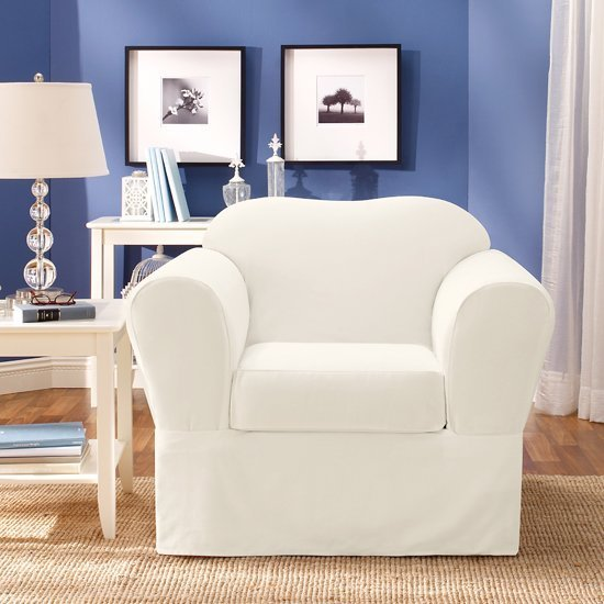 White oversized chair slipcovers white loveseat slipcover home furniture design white denim White loveseat slipcovers