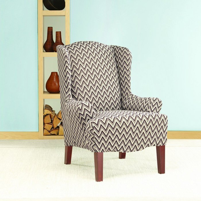 Wingback chair slipcover pattern home furniture design for Furniture slipcovers for wingback chairs