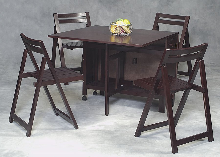 Wood Folding Table And Chairs Set Home Furniture Design