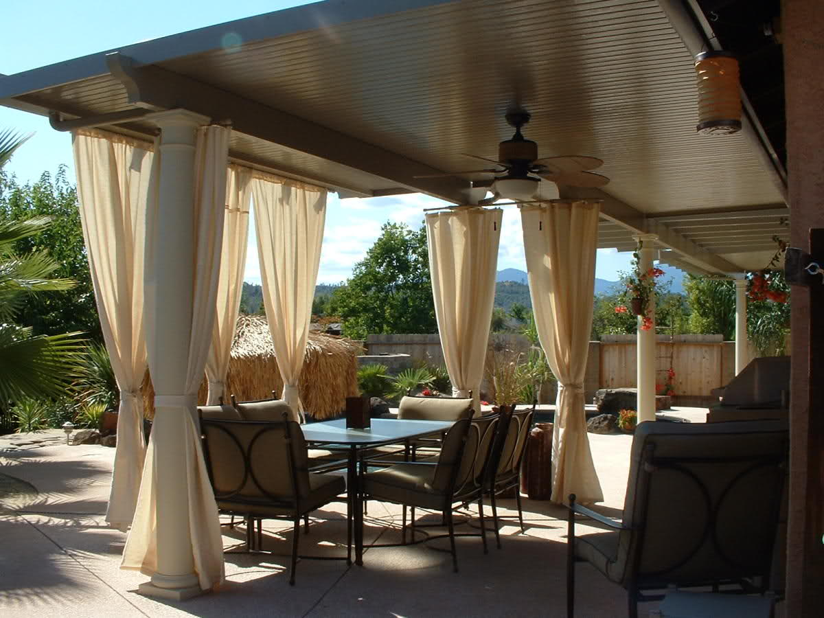 Aluminum attached solid patio cover home furniture design for Covered deck furniture
