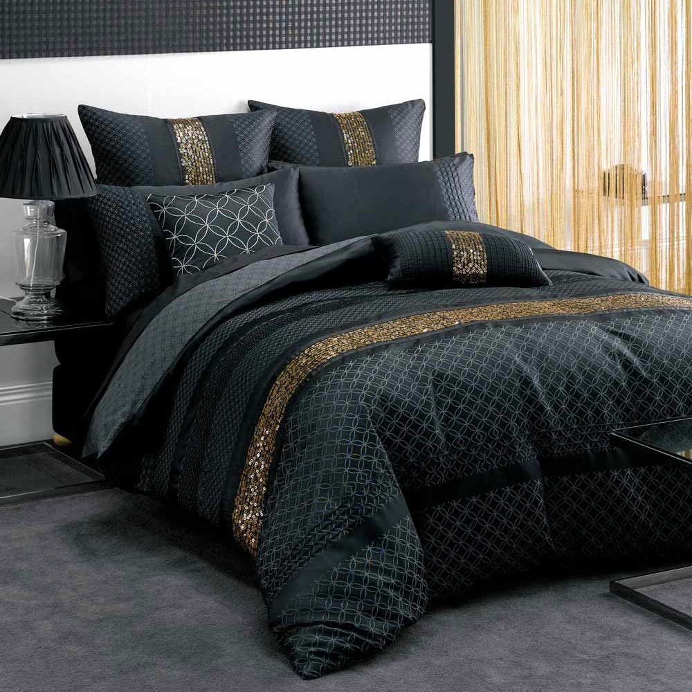 Black And Gold Bed Sheets Bed And Bath In Black Bedspread Stylish And Also Beautiful Black
