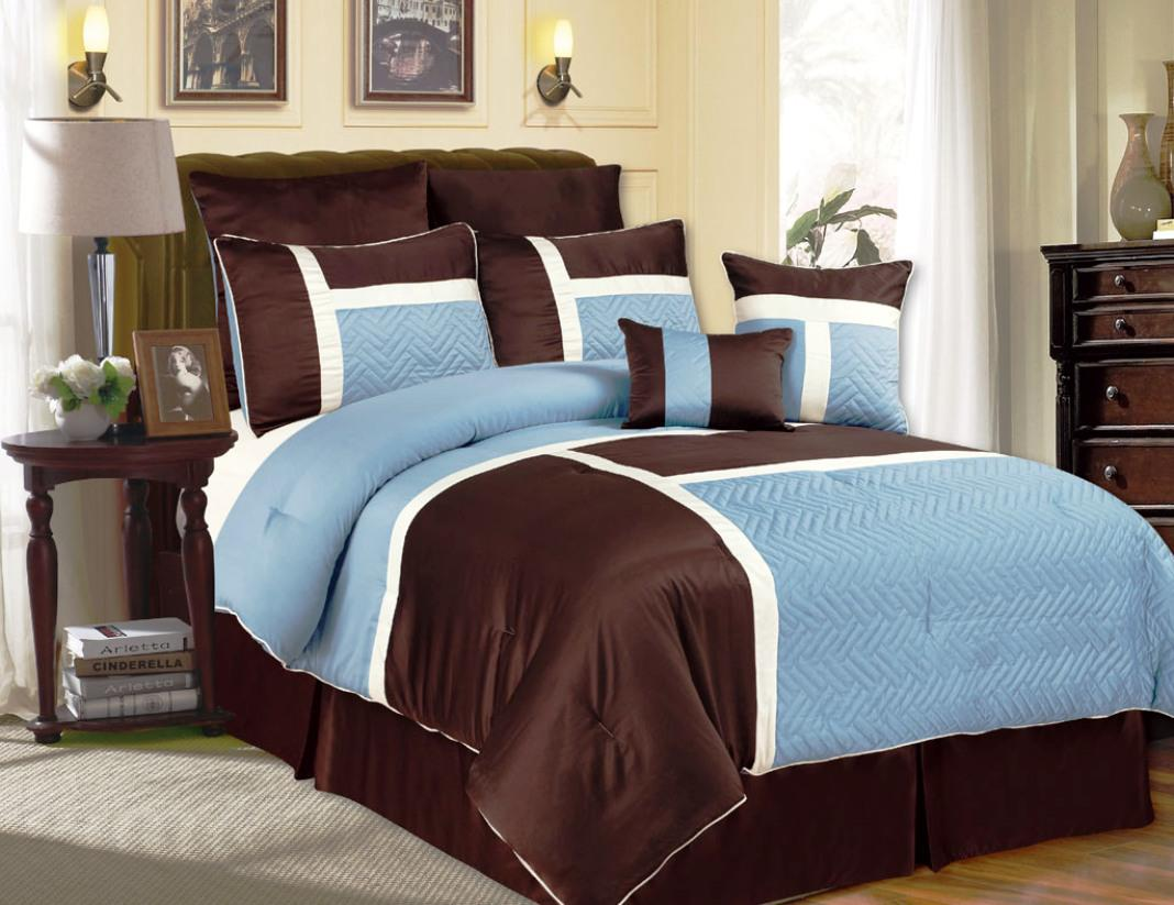 Blue and brown bedding sets home furniture design for Chocolate brown and blue bedroom ideas