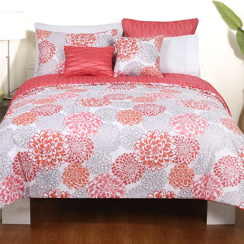 Coral And Grey Bedding Sets Home Furniture Design