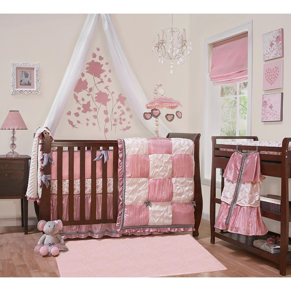 Crib bedding sets for girls home furniture design for Baby cot decoration ideas