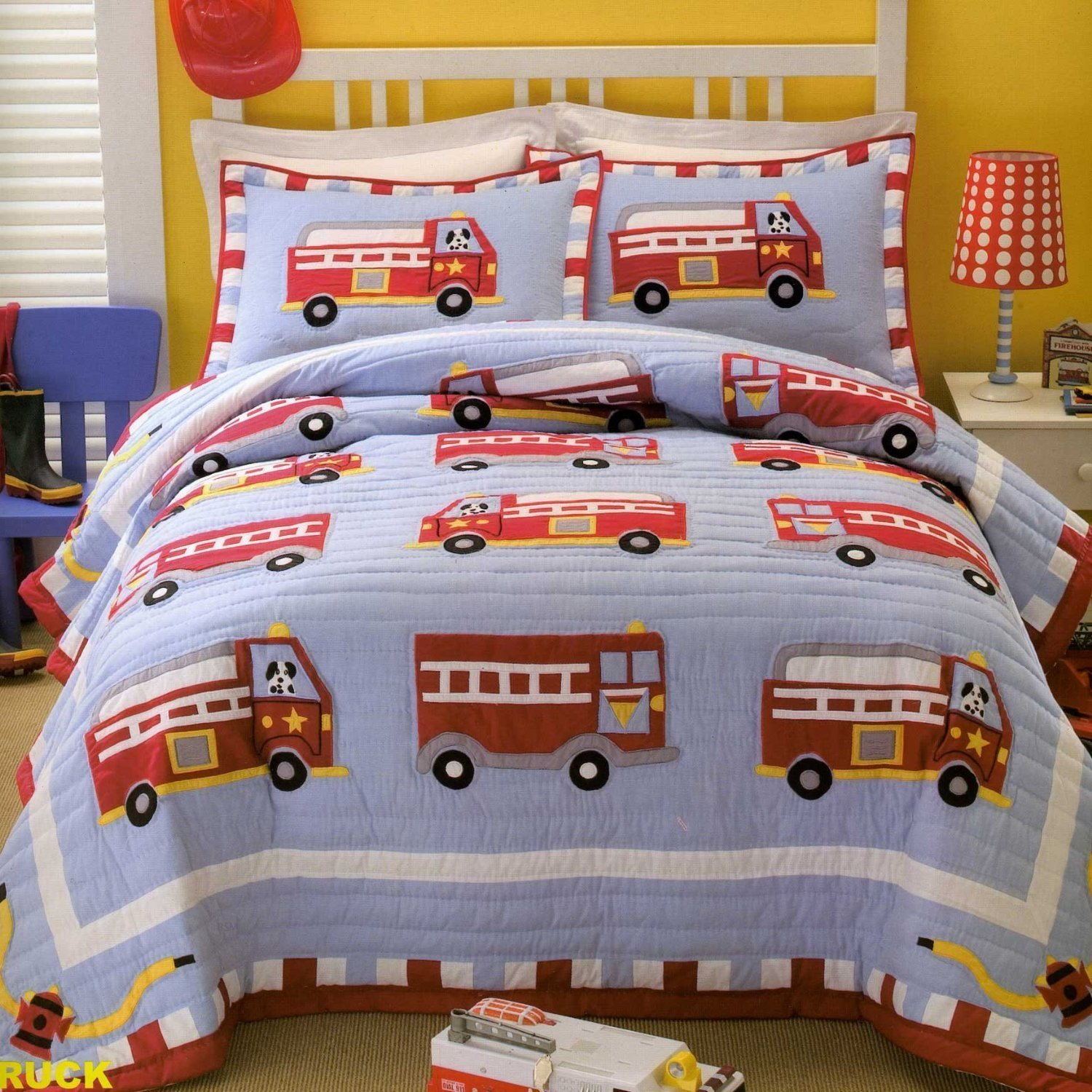 Fire truck bedding set home furniture design for Fire truck bedroom ideas