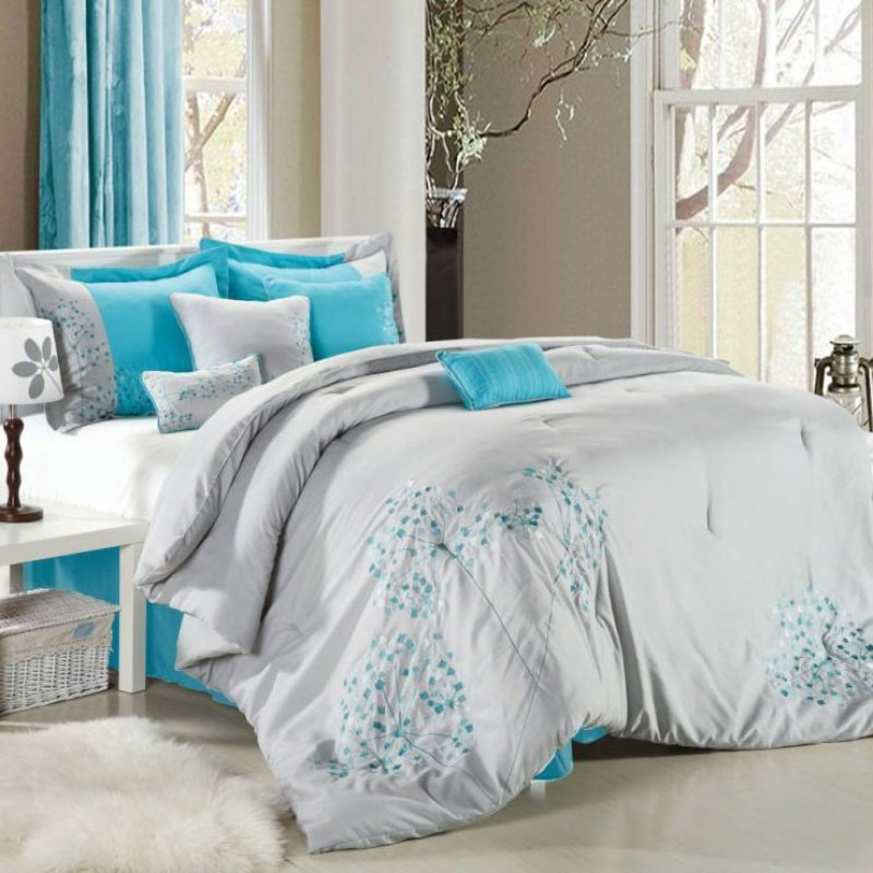 Gray And Blue Bedding Sets Home Furniture Design