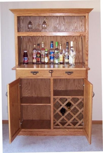 Oak liquor cabinet home furniture design for Building a home bar with kitchen cabinets