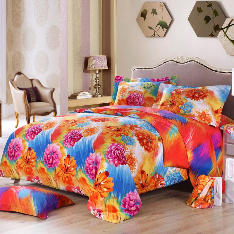 Turquoise And Orange Twin Bedding
