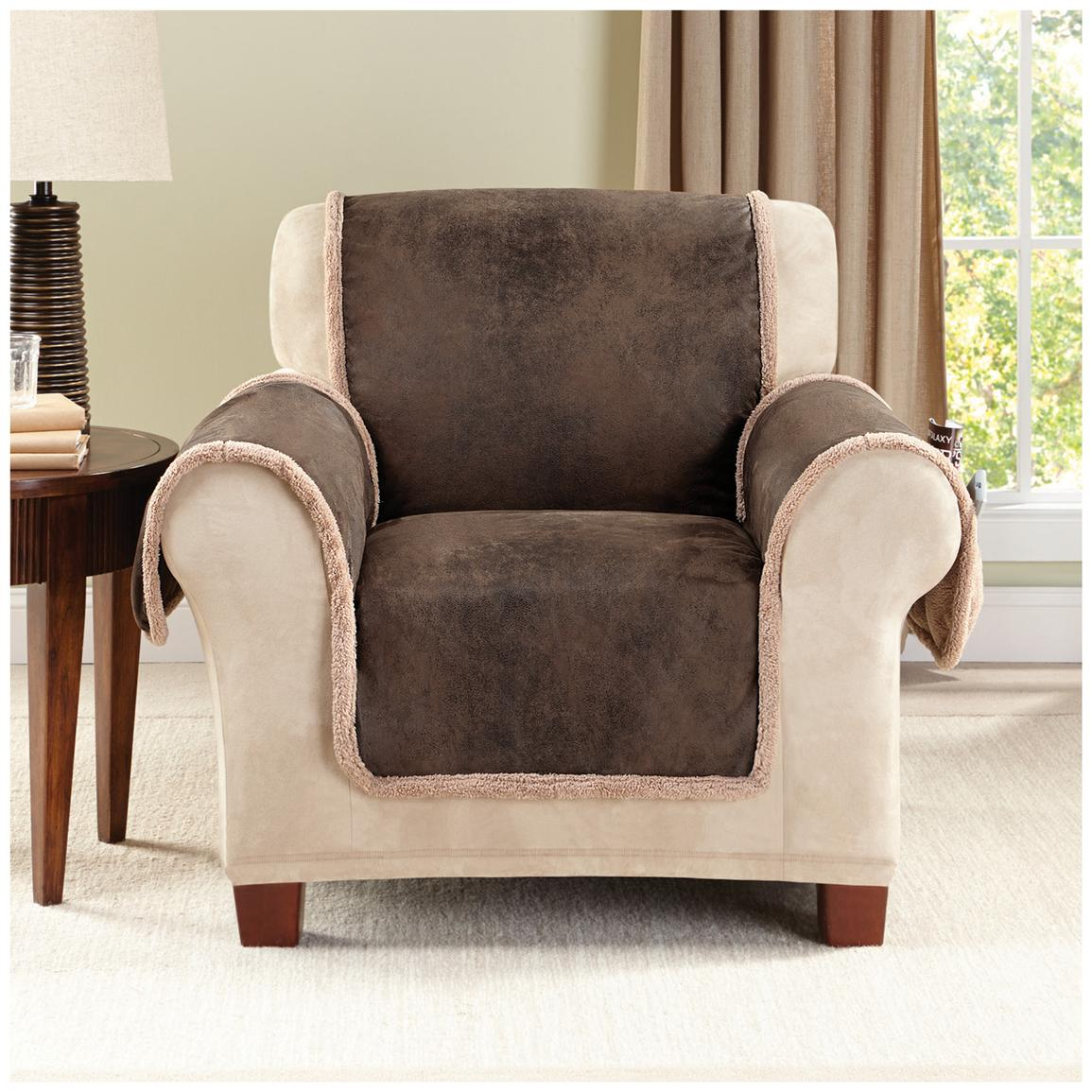 Recliner sofa covers home furniture design for Chair back covers for leather chairs