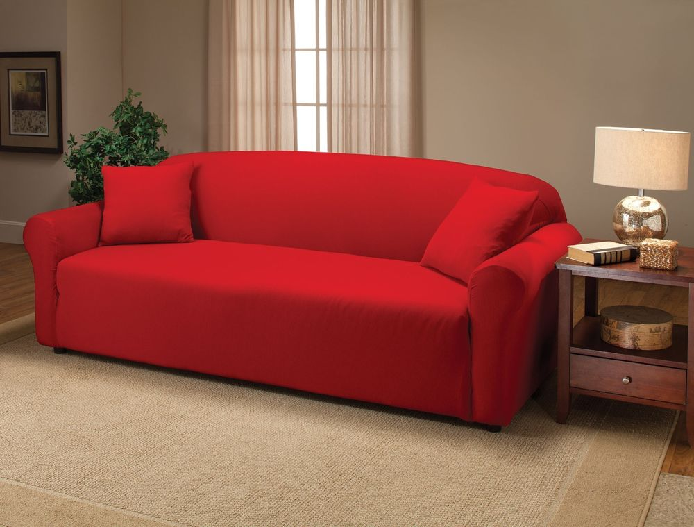 Red sofa slipcover home furniture design for Red sectional sofa covers