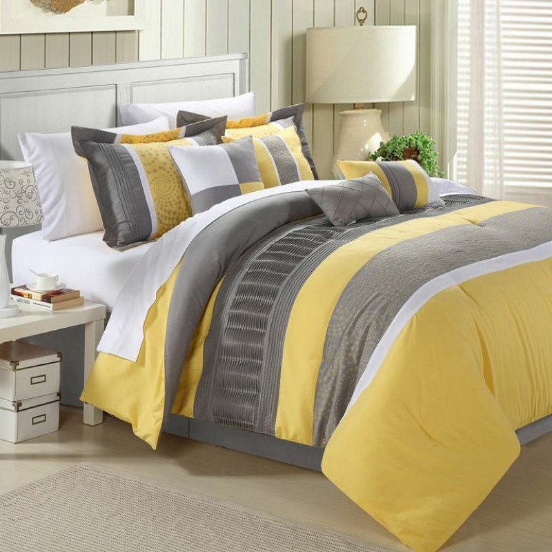 yellow and grey bedding sets - home furniture design