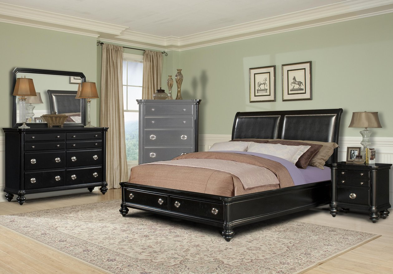 Black king size bedroom sets home furniture design for Bedroom sets with mattress