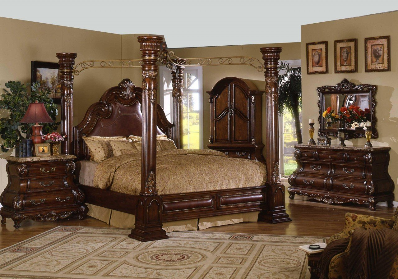 California King Canopy Bedroom Set Home Furniture Design