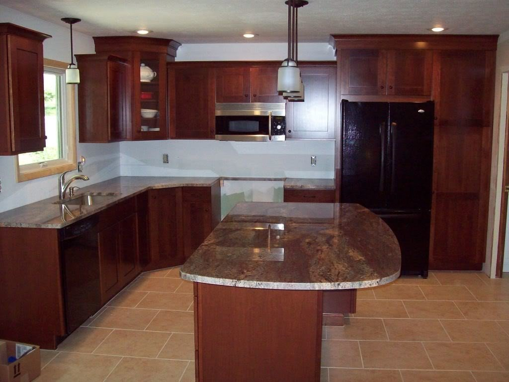 Dark cherry kitchen cabinets home furniture design for Floors to match cherry cabinets