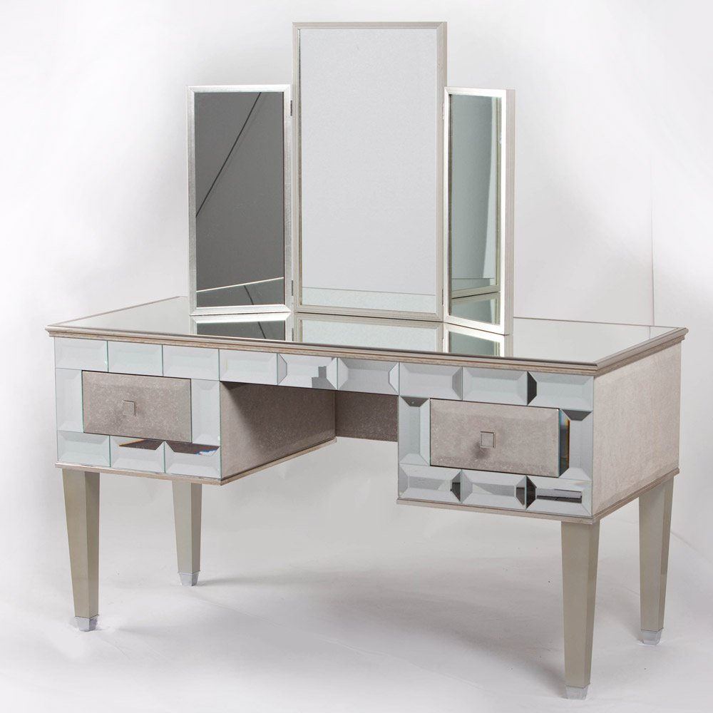 Mirrored vanity desk home furniture design for Mirror vanity