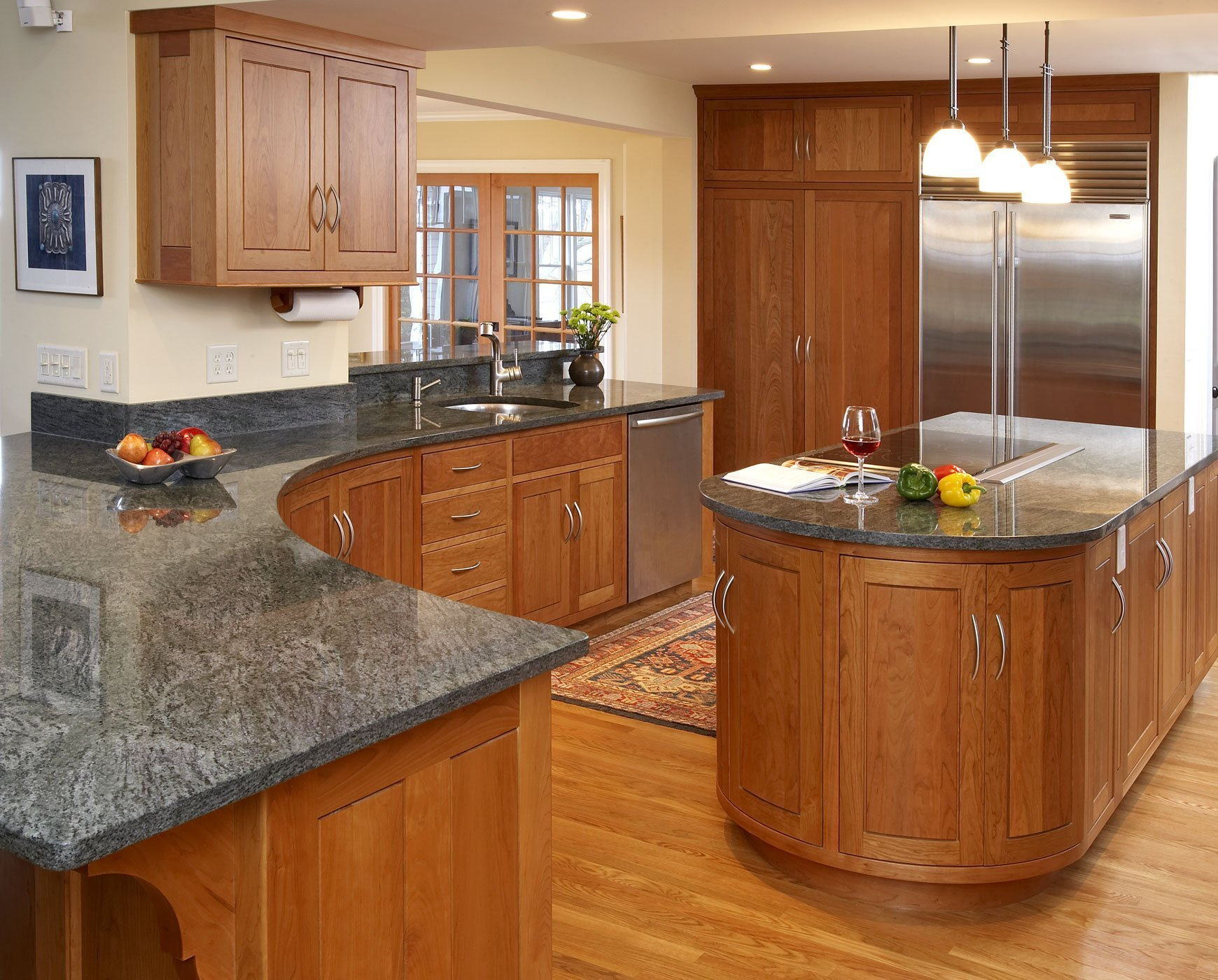 Kitchens With Cherry Cabinets And Tan Color Walls