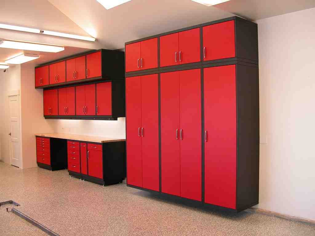 Red garage cabinets home furniture design for Garage cabinets