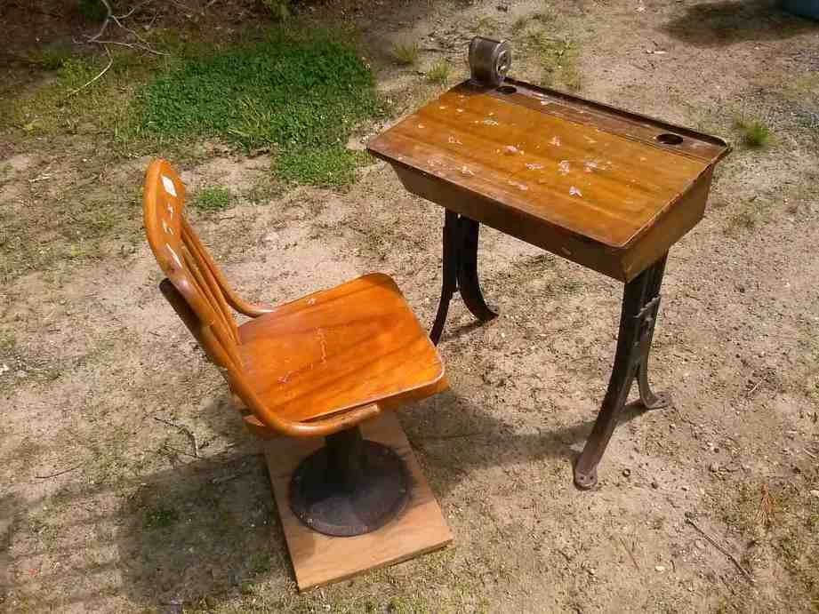 Antique School Desk with Inkwell - Home Furniture Design