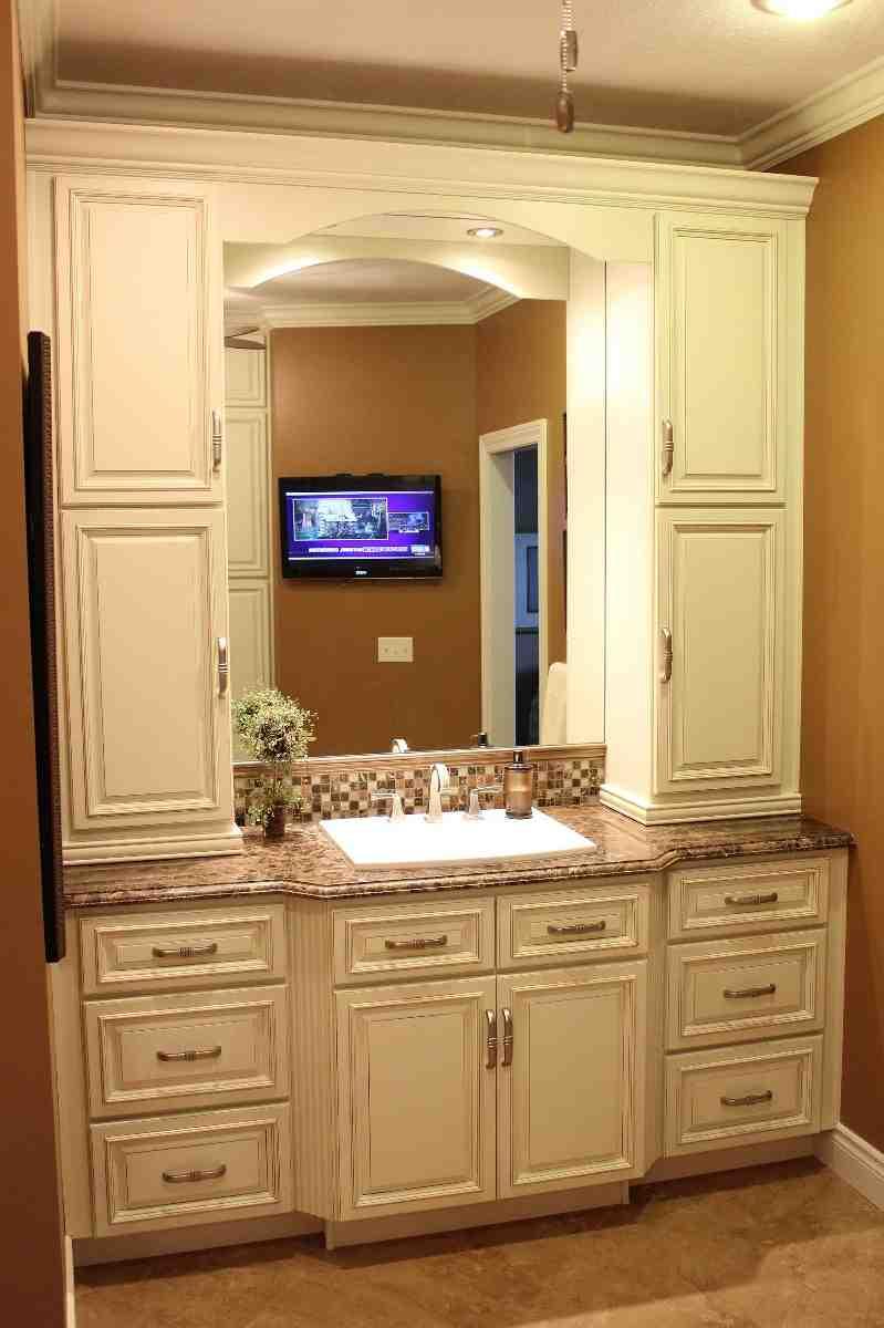 bathroom vanity with linen cabinet - home furniture design