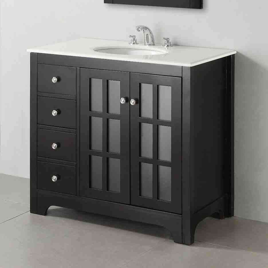 Black Bathroom Floor Cabinet