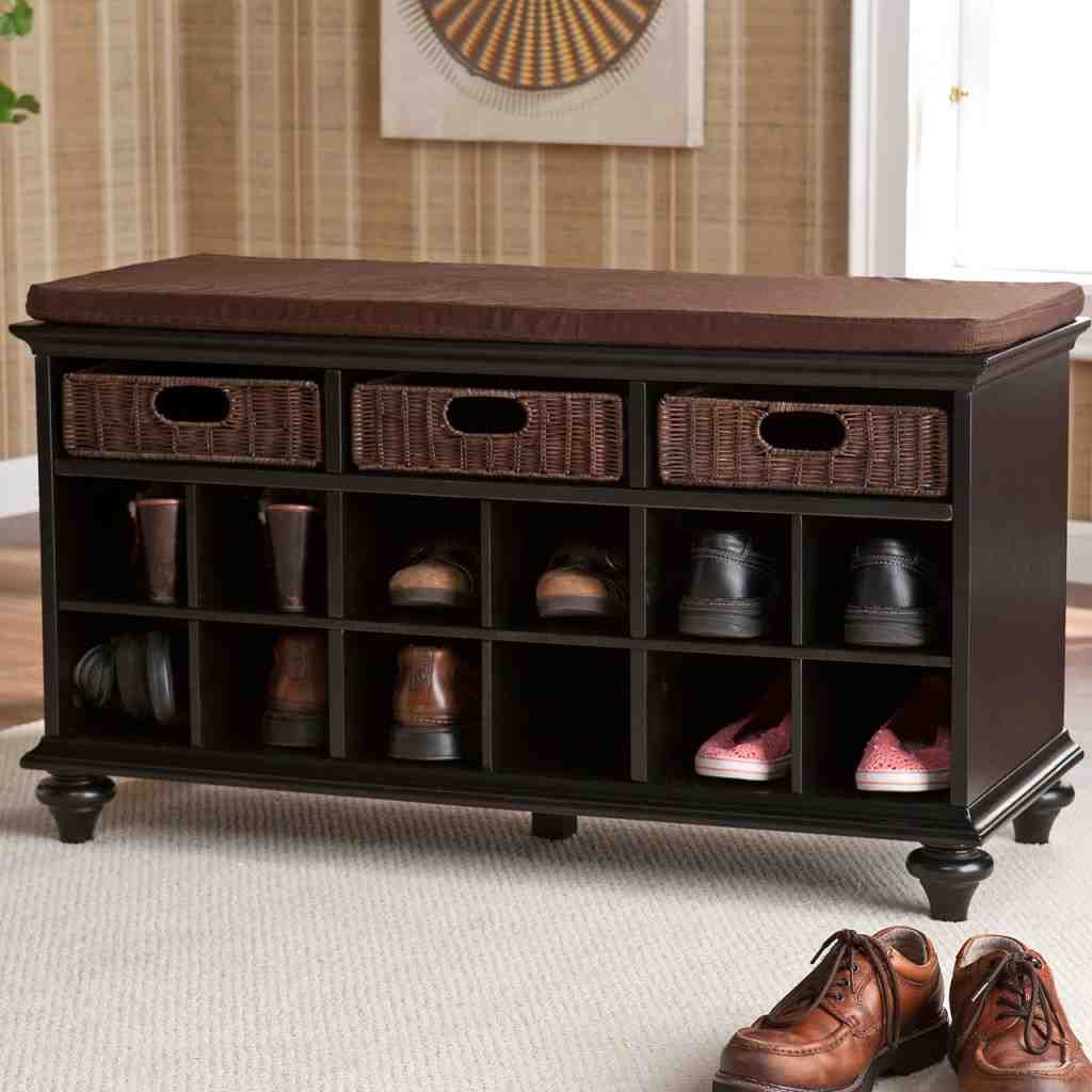 Black entryway storage bench home furniture design - Furniture for front entryway ...