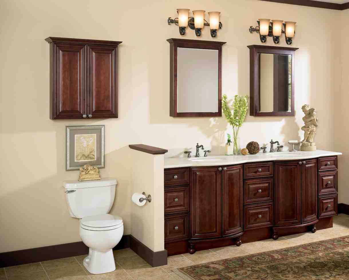 Cherry wood bathroom cabinets home furniture design for Bathroom cabinets natural wood