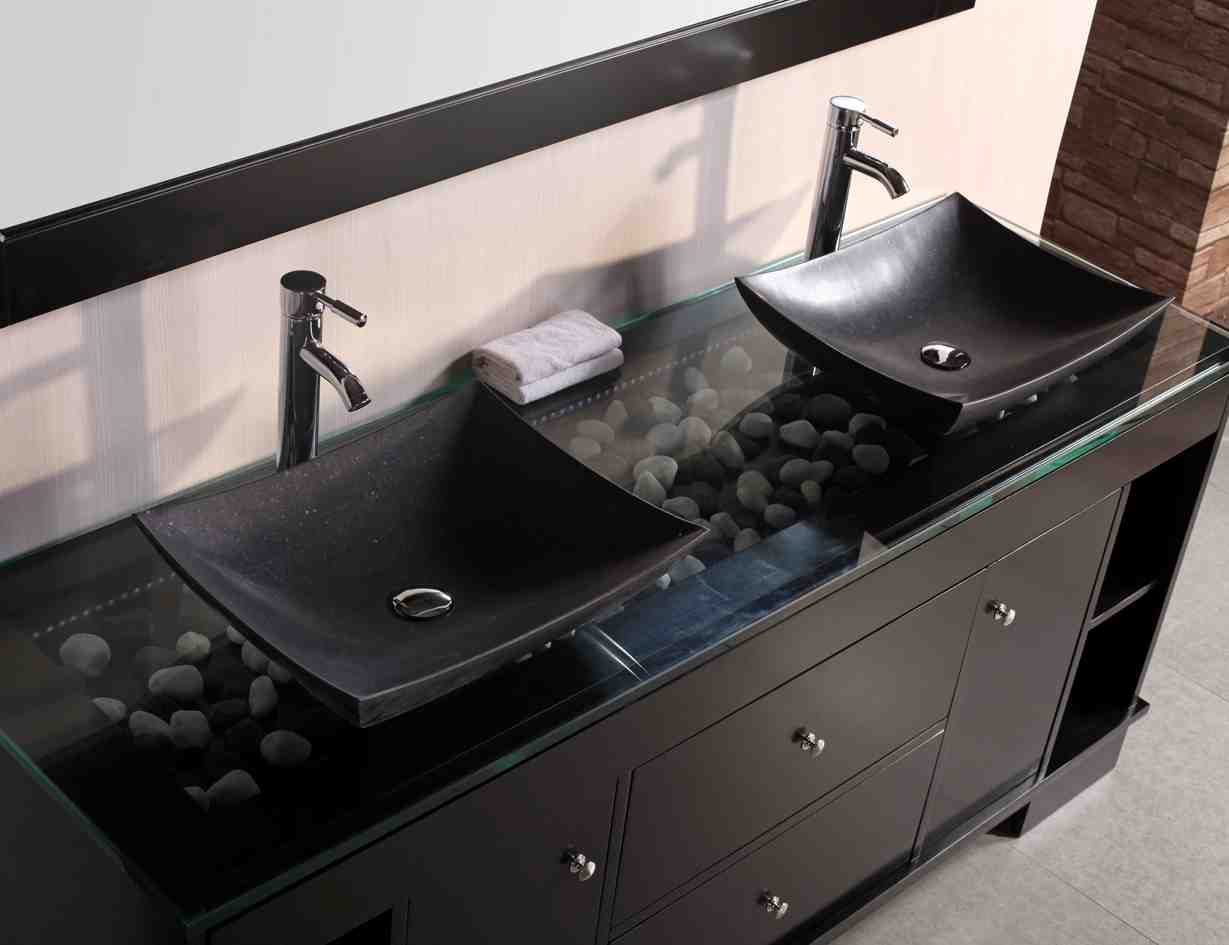 Bathroom double sink cabinets home decor for Double basin bathroom sinks