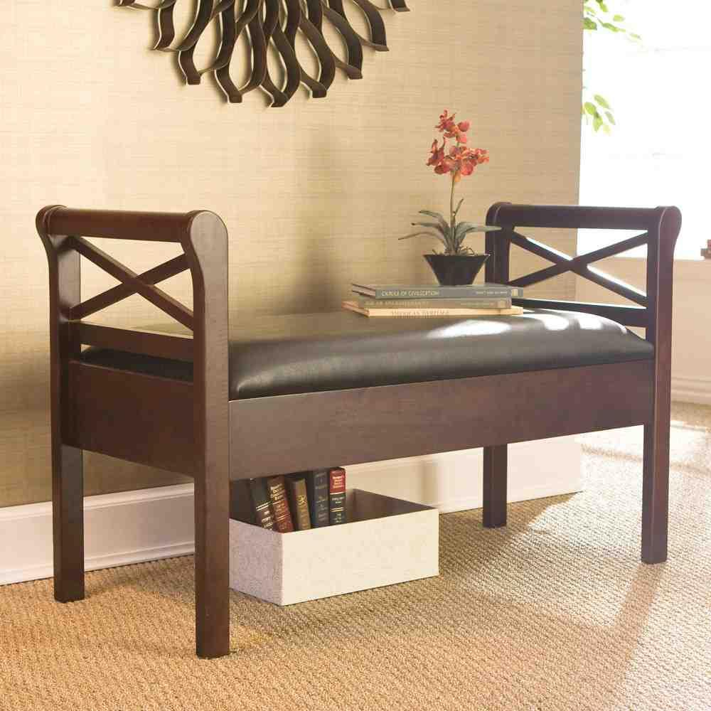 Espresso Storage Bench Home Furniture Design