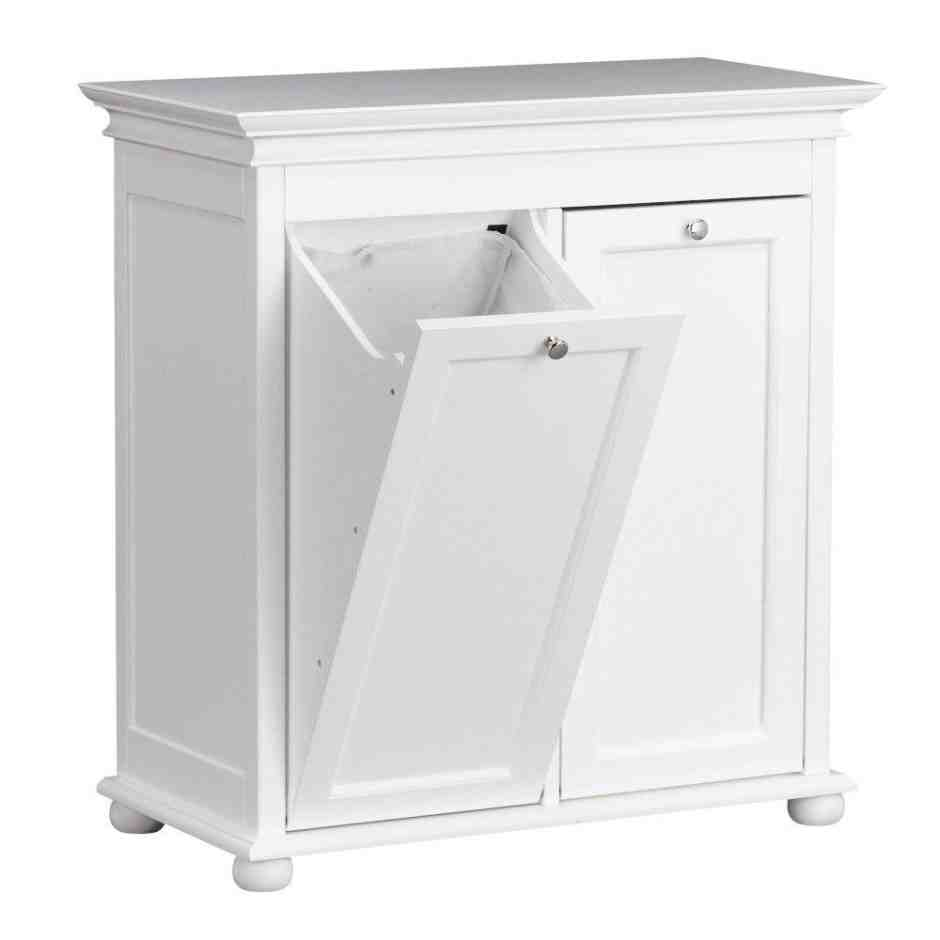 Linen floor cabinet home furniture design - Linen cabinet with laundry hamper ...