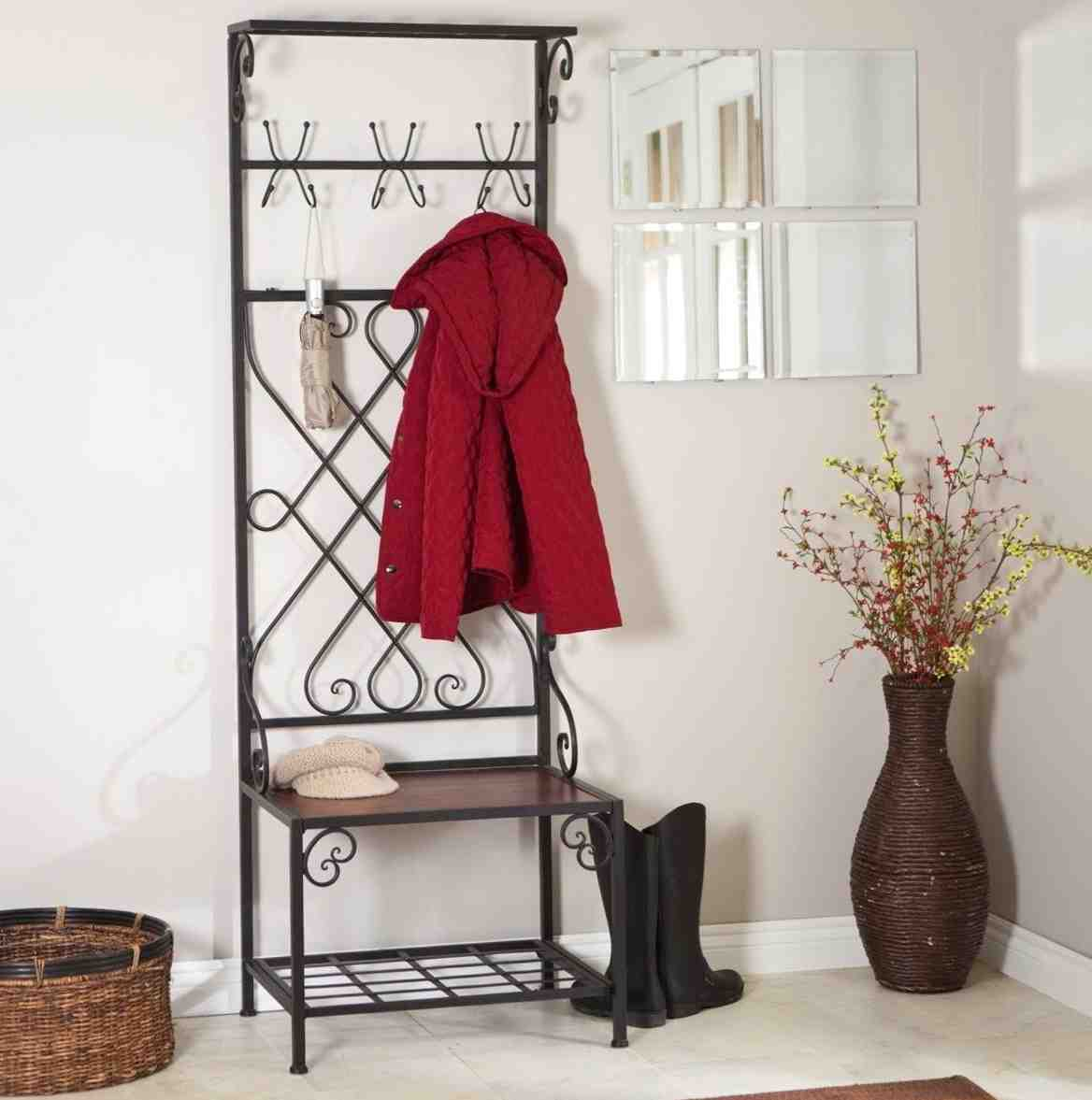 Mudroom Storage Bench And Coat Rack : Metal entryway storage bench with coat rack home