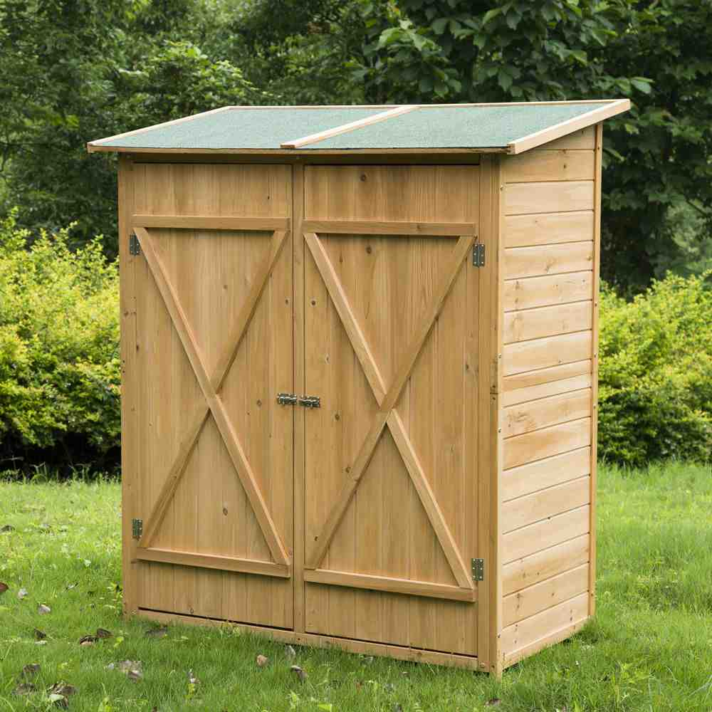 Outdoor storage cabinet wood home furniture design for Wooden garden storage shed